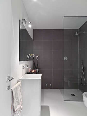shower cubicle: interior view of modern bathroom with glass shower cubicle