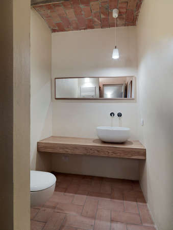little modern bathroom with terracotta floor and terracotta ceiling