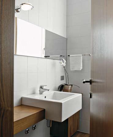 washbasin: foreground of washbasin in the modern bathroom Stock Photo