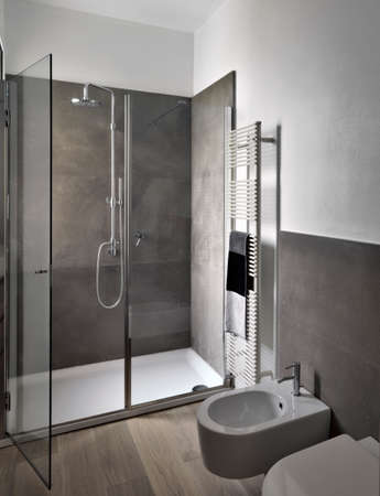 interior view of modern bahtroom with glass shower cubicle and wood floor