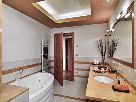 Innenansicht des modernen Bad im Vordergrund Badewanne und Waschbecken