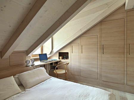 Innenansicht von einem rustikalen Schlafzimmer im Dachgeschoss Zimmer mit Holzverkleidung Lizenzfreie Bilder