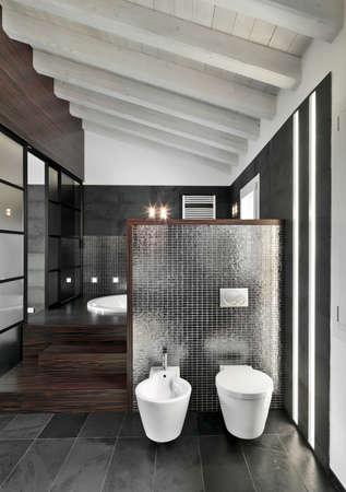 Vista del interior del cuarto de baño moderno en la habitación del ático con techo de madera en primer plano la porcelana sanitaria Foto de archivo - 39032379