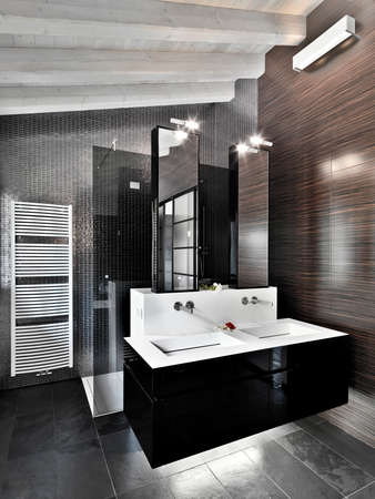 furnishings: foreground of washbasin in the modern bathroom in the attic room