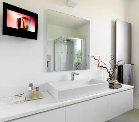 detail of washbasin in a modern bathroom with television and large mirror
