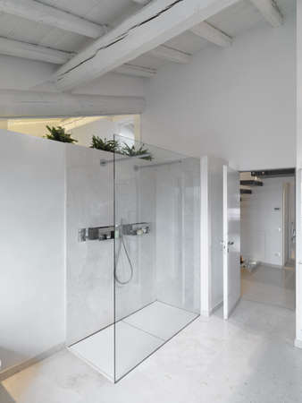 shower cubicle: interior view of a modern bathroom in foreground the glass shower cubicle and marble floor