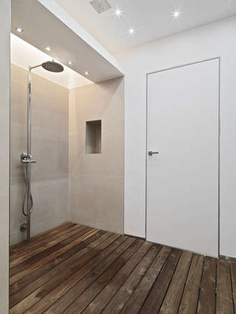 shower cubicle: modern shower cubicle with wood floor andglass partition