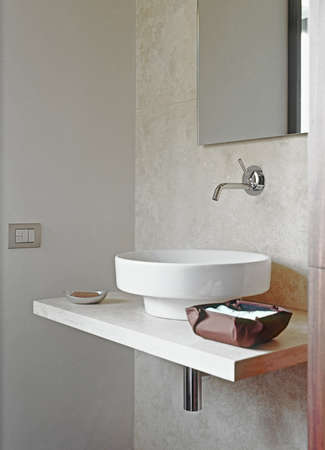detail of washbasin in the modern bathrooom Stock Photo
