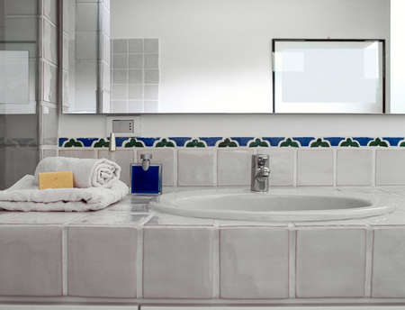 washbasin: detail of washbasin in the modern bathroom Stock Photo