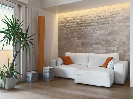 interior view of a modern living room with fabric sofa and wood floor Archivio Fotografico