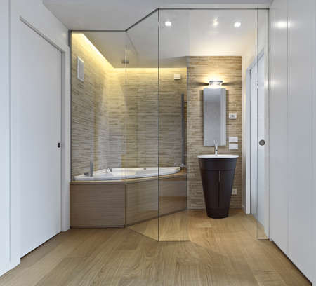 ineterior view of modern bathroom with wood floor overlooking on the bathtub