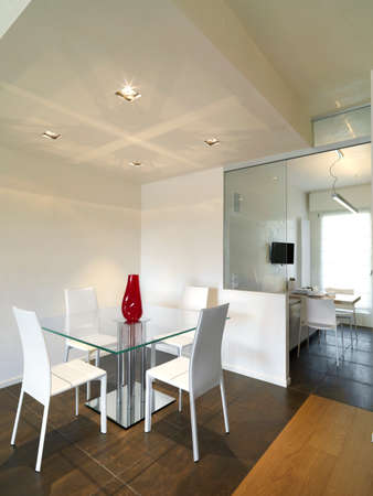 table and chairs: glass dining table bear to modern kitchen with wood floor