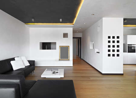 modern apartment: foreground of a living room with leathee sofa, wood floor, overlooking on the kitchen