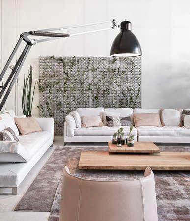 Detail der Ledersofa und Sessel in der modernen Wohnzimmer Lizenzfreie Bilder