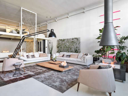 living room furniture: interior view of a modern living room with iron fireplace Bioethanol and loft