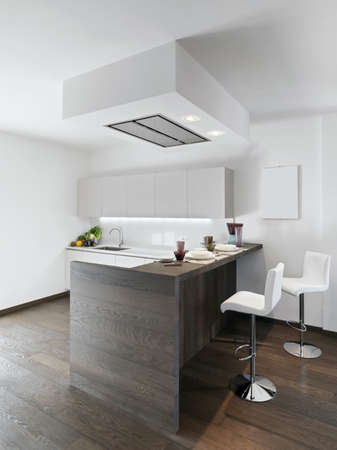 kitchen island: interior view of modern kitchen with wood floor and kitchen island