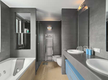 shower cubicle: interior view of a modern bathroom in foreground the washbasin and the bathtub Stock Photo