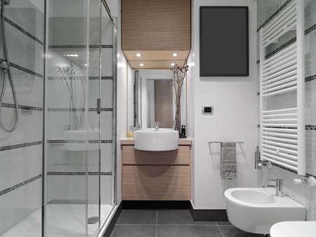 Vista interna di un bagno moderno con doccia in cristallo box Archivio Fotografico - 52487552