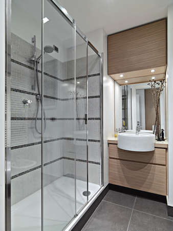 interior view of a modern bathroom with glass shower cubicle Standard-Bild