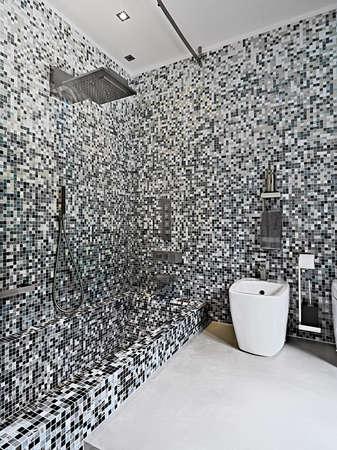 Innenansicht eines mdern Bad im Vordergrund Dusche vubicke und sanitayware mit Mosaikfliesen