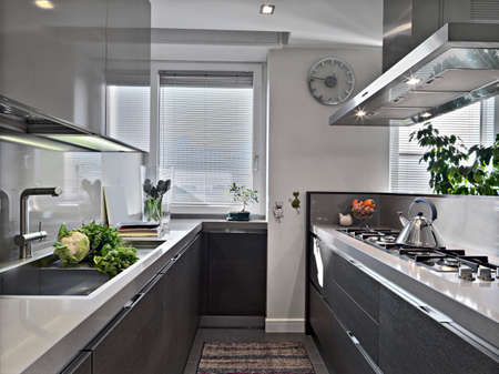 interior architecture: interior view of a modern kitchen