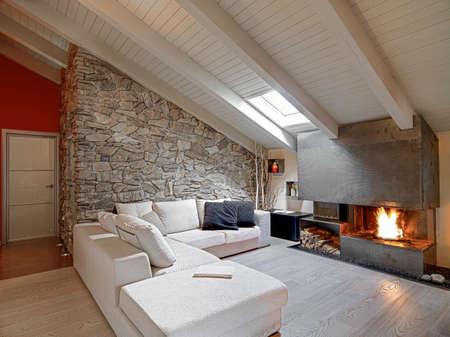 rockwall: modern living room with fireplace in the attic and with wood floor