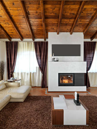 wood ceiling: foregroind of a modern fireplace in the living room with tile floor and wood ceiling