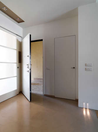 resin: interior view of a modern entrance of apartment with white main door and resin floor Stock Photo