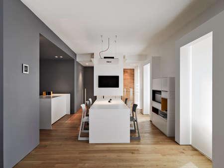 wood room: modern living room overlooking on the kitchenwith wood floor Stock Photo