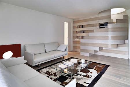 moderne Wohnzimmer das Ledersofa auf dem großen Bücherregal im Vordergrund Blick