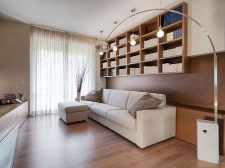 interior view of a modern living oom in toreground the fabric sofa the floor is made of wood
