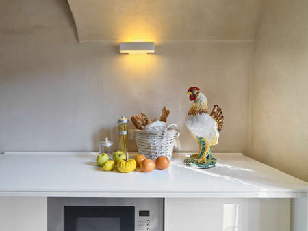 fruits and object on the furniture in the modern kitchen