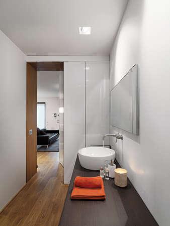 interior view of a modern bathroom in  foreground the countertop washbasin overlooking on the living room Lizenzfreie Bilder