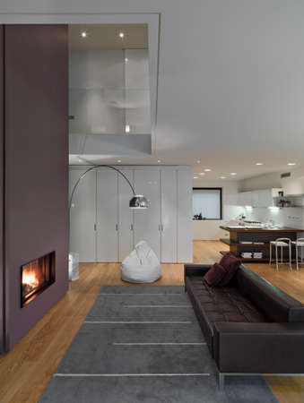 internal view of a modern living room with black leather sofa and carpet In front of the fireplace overlooking on the kitchen the floor is made of wood Standard-Bild
