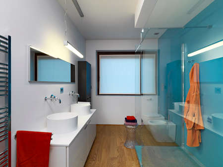 wood flooring: internal view of a modern bathroom with two countertop weshvasin with shower cubicle and wooden floor Stock Photo