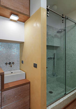 interior view of a modern bathroom in the foreground the washbasin overlooking on the glass shower cubicle