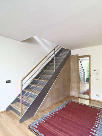 interios view of entrance of a modern apartment with wood floor and red carpet and close up on the staircase