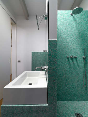 foreground of a masonry shower cubicle and counter top washbasin in the modern bathroom Lizenzfreie Bilder