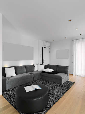 internal shots of a modern living room in foreground the gray fabric sofa and the