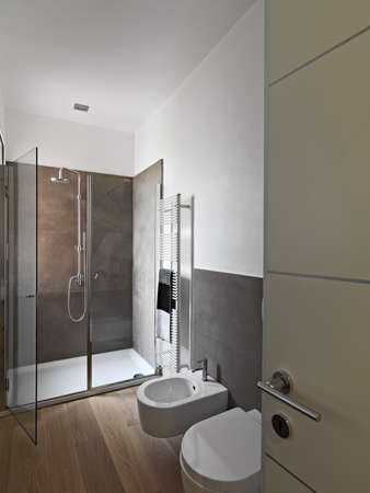 interior shots of a modern bahtroom with glass shower cubicle and wood floor Banco de Imagens