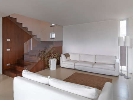 interior modern living room with two fabric couchs overlooking on the wooden staircase Standard-Bild