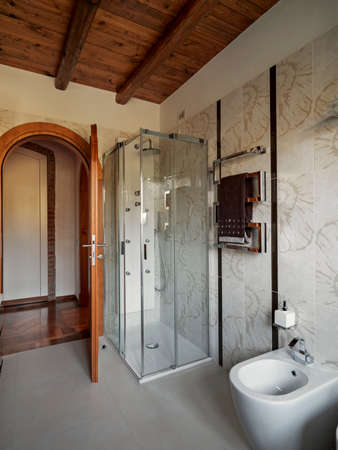 interior view of modern bathroom in foreground the glass shoer cubicle with tile floor and wood ceiling