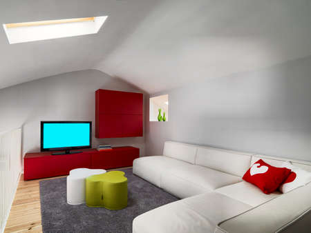 internal viw of a modern living room in the suspended platform with leather couch and red furnishings