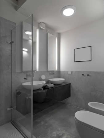 Internal shots of a modern bathrooms with two counter top washbasin