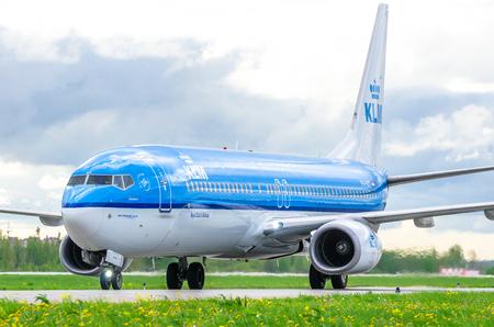 Boeing 737 KLM airlines, airport Pulkovo, Russia Saint-Petersburg August 2016.