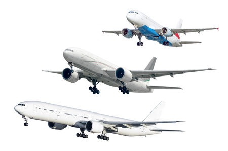 Set of three soaring aircraft isolated against background