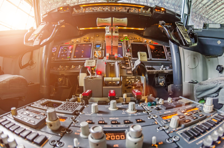 Aircraft cockpit view on the control panel Stock Photo