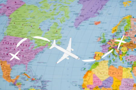 Flight to Europe symbolic image of travel by plane map.