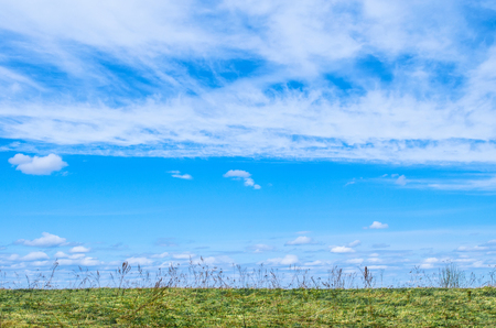 high winds: Blue Sky for the background and white cirrus, cirrus-like clouds under the field and grass