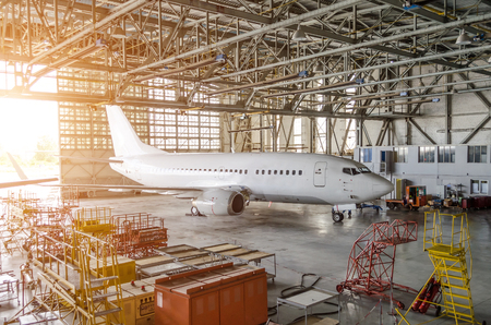 Airliner aircraft in a hangar with an open gate to the service